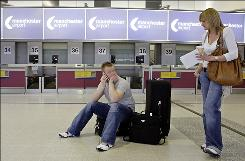 Max Summerskill and Rebecca Hammond learned their flight from Manchester, England, to Cancun, Mexico, was canceled Tuesday following a travel advisory from the British government.