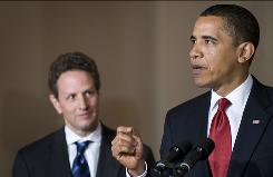 President Obama, with Treasury Secretary Timothy Geithner, said he is trying to close loopholes.