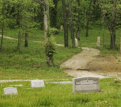 "A path leads from the traditional cemetery to the area set aside for ""green"" burials at Oak Hill Cemetery in Lawrence, Kan."