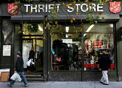 Thrift stores like this one in New York are doing big business as consumers try to conserve cash.