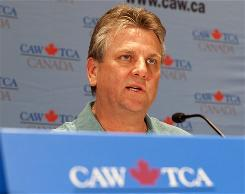 Canadian Auto Workers President Ken Lewenza speaks to the media regarding negotiations with Chrysler last month.