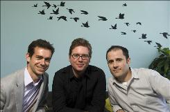 Twitter's founders, from left, Jack Dorsey, Biz Stone and Evan Williams.