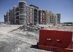Manhattan West, a stalled condominium project, stands unfinished in Las Vegas, not an uncommon sight across the USA.