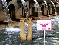 """Breakfast NOT Brokefast"" ads will be displayed in public fountains in Chicago, New York and Boston beginning this week."