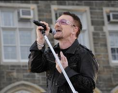 Bono of U2 performs on Good Morning America  at Fordham University in March.