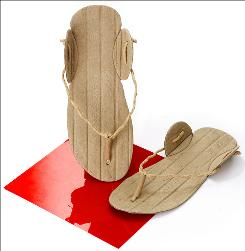 Ekosteps are disposable footwear made of recycled paper.
