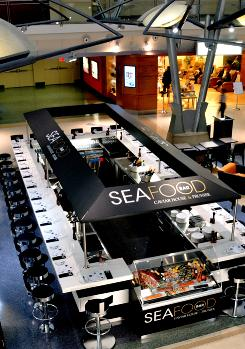 New York JFK's Terminal 4 has several new restaurants, including Seafood Bar.