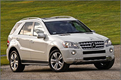 Mercedes-Benz plans to roll out some gasoline-electric models, including a version from its ML series. Pictured is a gas-fueled Mercedes ML 550.