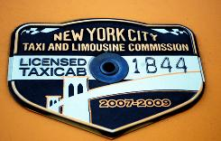 A coveted taxicab medallion from the New York City Taxi & Limousine Commission.