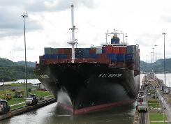 A ship traveling from New York to Los Angeles and the Far East passes through the canal.