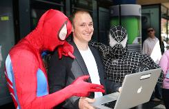 "Animoto CEO Brad Jefferson killed time waiting to meet a reporter in Los Angeles by snapping photos and video clips of costumed characters on Hollywood Boulevard, then quickly put together a video slide show of his work. Here, he shares the results with some ""Spider-Men."""