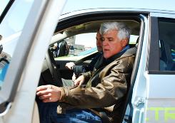 Jay Leno at Ford's Dearborn Development Center in April when he got the first chance to drive the all-electric Focus prototype.