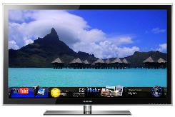The Samsung LED 8000 Internet television, featuring widgets that can be activated by remote control.