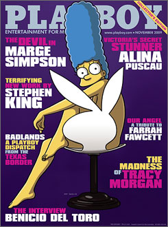 The cover of the November 2009 issue featuring Marge Simpson, the first time Playboy featured a cartoon character.