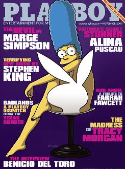 Playboy magazine's November 2009 cover, featuring cartoon character Marge Simpson.