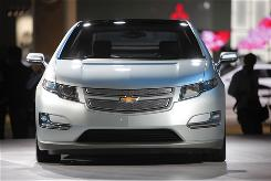 The 2011 Chevrolet Volt sists at the Los Angeles Auto Show.