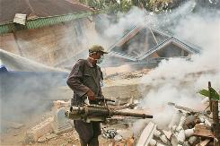 A worker sprays insecticide to prevent dengue fever at a neighborhood affected by an earthquake in Padang Pariaman, Indonesia, on Oct. 12, 2009. The 7.6 magnitude temblor devastated a stretch of more than 60 miles along the western coast of Sumatra island on Sept. 30.