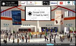 "The ""main entrance"" of a virtual trade show directs participants to areas that might be of interest."