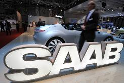 Saab's logo at a car show. Time is running out on efforts to save the brand.