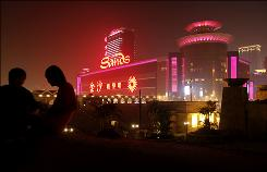 The Sands' casino in Macau. The city hit an all-time high in gambling revenue in October.