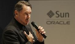 Oracle CEO Larry Ellison speaks at an Oracle and Sun strategy update event Wednesday.