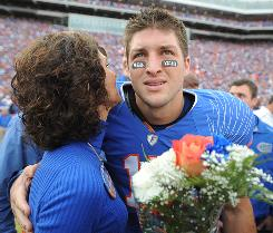Florida quarterback Tim Tebow embraces his mother, Pam. The pair star in Focus on the Family's ad.