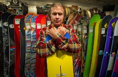 Jake Burton, founder of Burton Snowboards, in the flagship store in Burlington, Vt. His privately held company holds 40% of the world's snowboard market. Sales are not reported but are believed to reach almost $700 million.