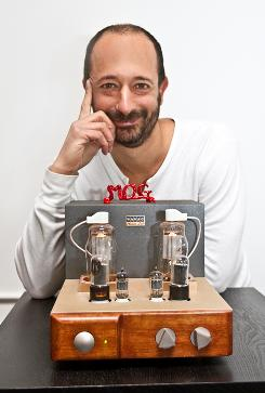 MOG CEO David Hyman, photographed in his office in Berkeley, Calif., is a stereophile. He has a Japanese tube amp, made by Wavac, powering MOG into speakers.