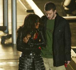 Janet Jackson and Justin Timberlake perform during the Super Bowl half time show in 2004. The pair caused a controversy when Timberlake pulled down part of Jackson's costume exposing her right breast.