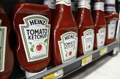 Bottles of Heinz ketchup displayed at a grocery store in Palo Alto, Calif.