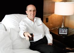 Control4 CEO Will West, in a guest room at the Las Vegas Aria Resort and Casino, where Control4 provides the software that automates Aria's rooms.