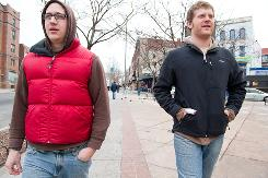 Jordan Watts, left, and Dominic Ouellette are roommates. Ouellette thinks a catastrophic plan, where the enrollee has to spend a lot before getting benefits, is impractical. For instance, a recent trip to the emergency room for stitches in his thumb cost him several hundred dollars, none of which would have been covered under a catastrophic policy.