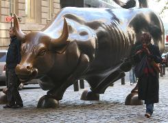 The bull scupture is seen near Wall Street in New York City.