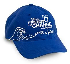The Disney Friends for Change and Oceans branded hat is made from recycled bottles, and it is free to Disney Store guests who bring in 6 plastic bottles or aluminum cans.
