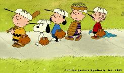 The Peanuts gang  Charlie Brown, Snoopy, Lucy, Schroeder and Linus, as they appeared in a TV special.