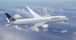 An artist's rendering of a United Airlines jet after the United-Continental merger. The jet bears Continental's colors and logo.