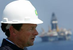 BP CEO Tony Hayward during recovery operations in the Gulf of Mexico, south of Venice, La. in May.