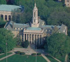 Old Main at Pennsylvania State University is an an iconic campus building housing the administrative offices in University Park, PA.