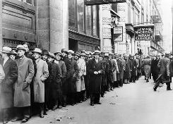 On Nov. 24, 1933, nearly 5,000 unemployed people waited at the labor bureau in New York seeking relief.