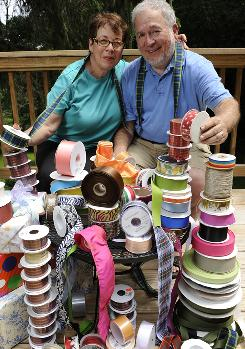 Alice and Donald Murray of Bangor, Pa., use social media, such as Facebook, left, to promote their ribbon business, Over the Moon Ribbons.