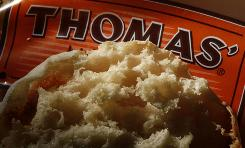 "Photo shows a Thomas' English Muffin with its famous ""nooks and crannies."""