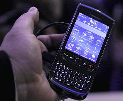 The new BlackBerry Torch is displayed Tuesday in New York.
