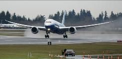 The first production Boeing 787 takes off on it's inaugural flight from Paine Field in Everett, Wash., on Dec. 15, 2009.