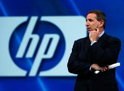 In 2007, HP CEO Mark Hurd speaks at the Oracle Open World conference in San Francisco.