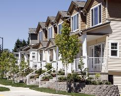 New townhouses for sale are shown in Beaverton, Ore.