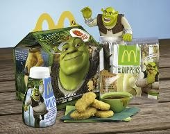 "To help make eating fruits and dairy more fun, kids can ""Shrek Out"" their Happy Meal with Apple Dippers and low-fat Milk Jugs featuring Shrek-themed graphics and toys."