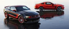 This spring, Ford will bring out two versions of its pony car: the 2012 Mustang Boss 302 Laguna Seca, front, and the Mustang Boss 302.