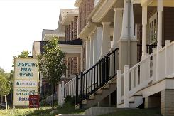 A row of new homes is seen in the Boulevard Heights development in St. Louis.