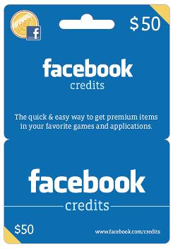 Facebook credits gift card is good for games.