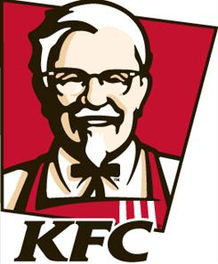 The KFC logo bears founder Colonel Sanders' portrait.